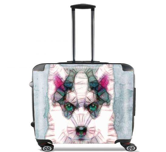 "abstract husky puppy for Wheeled bag cabin luggage suitcase trolley 17"" laptop"