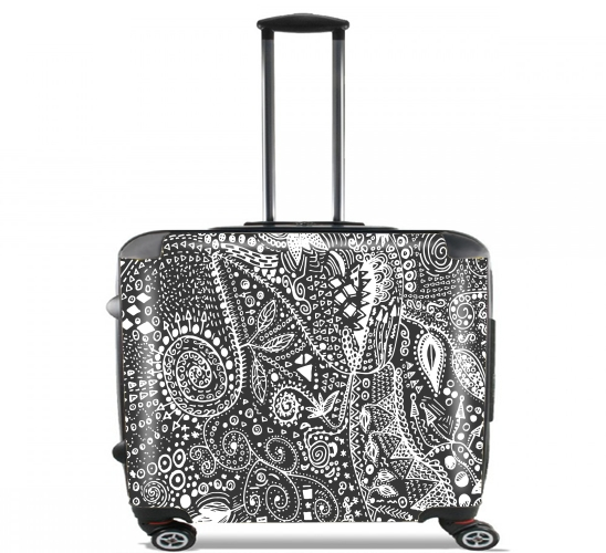 "Aztec B&W (Handmade) for Wheeled bag cabin luggage suitcase trolley 17"" laptop"