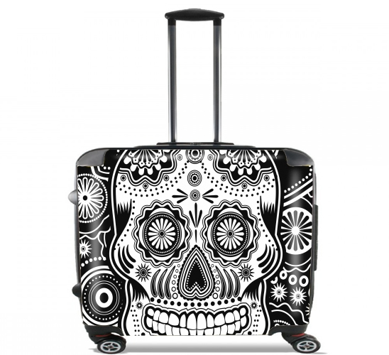 "black and white sugar skull for Wheeled bag cabin luggage suitcase trolley 17"" laptop"