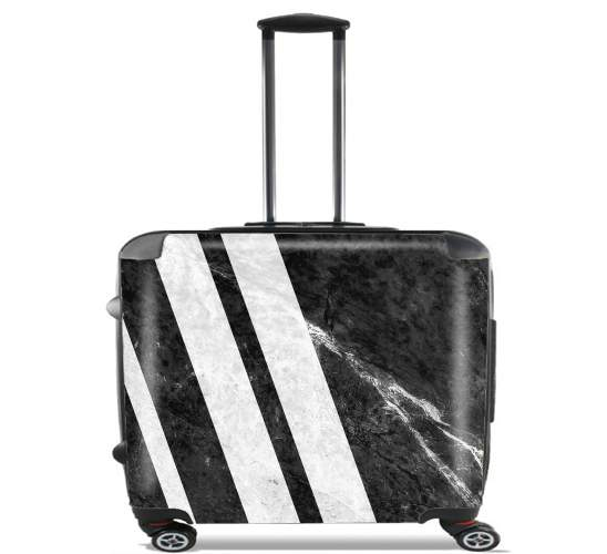 "Black Striped Marble for Wheeled bag cabin luggage suitcase trolley 17"" laptop"