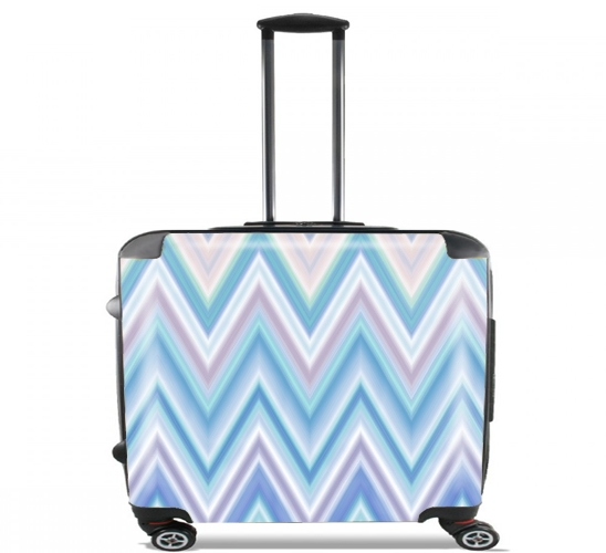 "BLUE COLORFUL CHEVRON  for Wheeled bag cabin luggage suitcase trolley 17"" laptop"