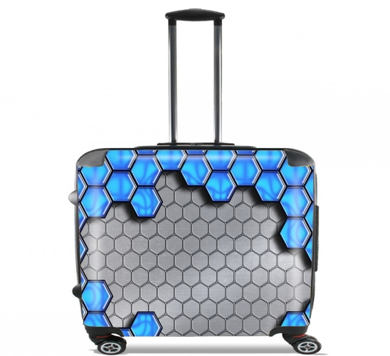 "Blue Metallic Scale for Wheeled bag cabin luggage suitcase trolley 17"" laptop"