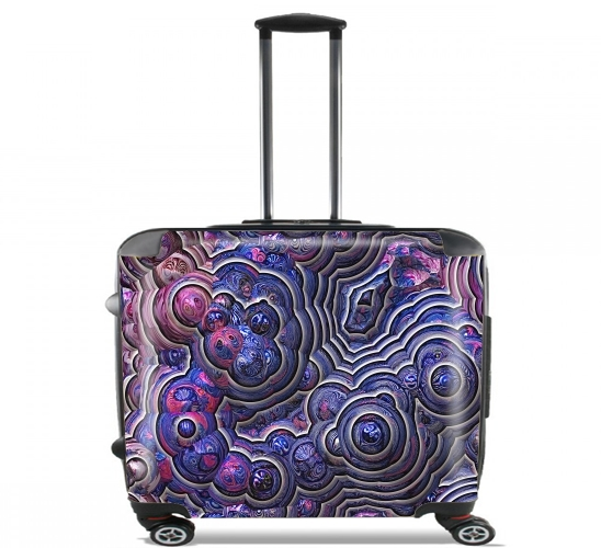 "Blue pink bubble cells pattern for Wheeled bag cabin luggage suitcase trolley 17"" laptop"
