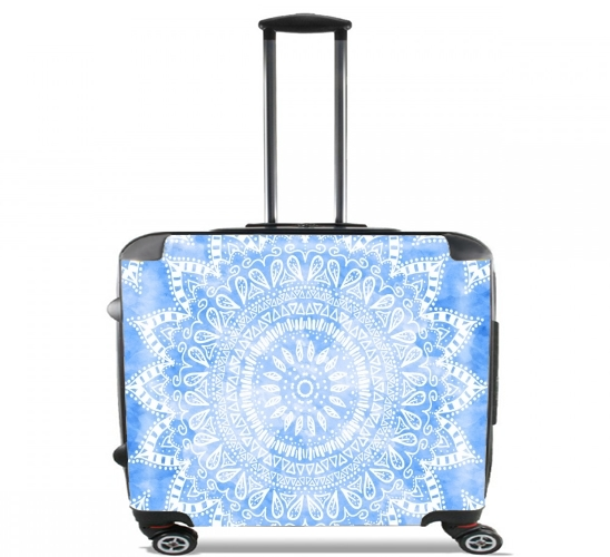 "Bohemian Flower Mandala in Blue for Wheeled bag cabin luggage suitcase trolley 17"" laptop"
