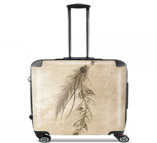 "Boho Feather for Wheeled bag cabin luggage suitcase trolley 17"" laptop"