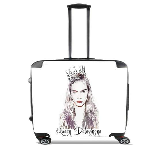 "Cara Delevingne Queen Art for Wheeled bag cabin luggage suitcase trolley 17"" laptop"