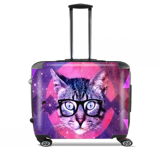 "Cat Hipster for Wheeled bag cabin luggage suitcase trolley 17"" laptop"