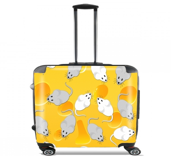"cheese and mice for Wheeled bag cabin luggage suitcase trolley 17"" laptop"