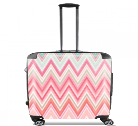 "colorful chevron in pink for Wheeled bag cabin luggage suitcase trolley 17"" laptop"