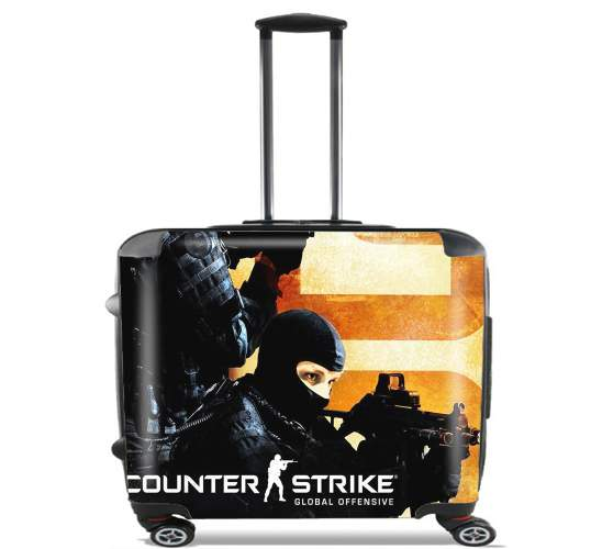 "Counter Strike CS GO for Wheeled bag cabin luggage suitcase trolley 17"" laptop"