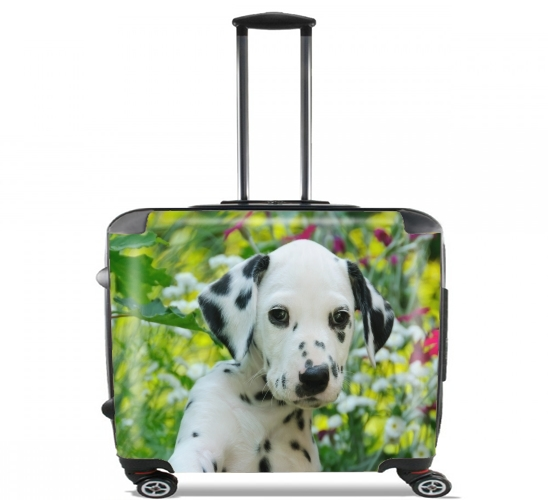 "Cute Dalmatian puppy in a basket  for Wheeled bag cabin luggage suitcase trolley 17"" laptop"
