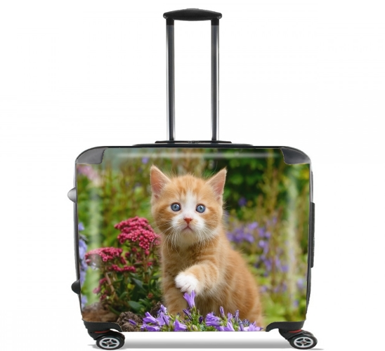 "Cute ginger kitten in a flowery garden, lovely and enchanting cat for Wheeled bag cabin luggage suitcase trolley 17"" laptop"