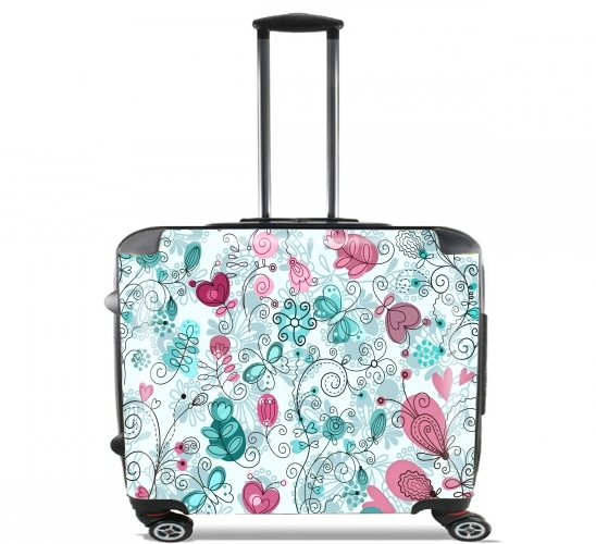 "doodle flowers and butterflies for Wheeled bag cabin luggage suitcase trolley 17"" laptop"