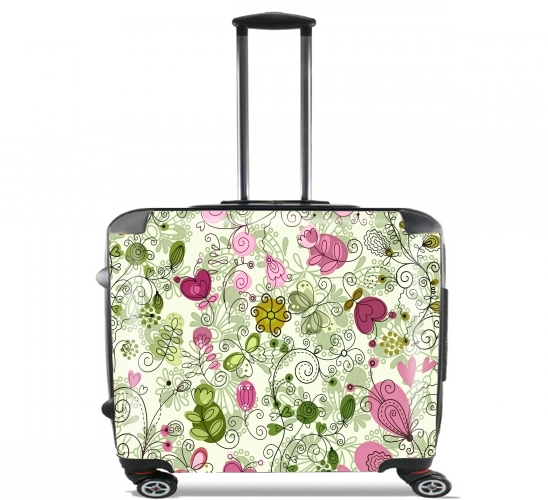 "doodle flowers for Wheeled bag cabin luggage suitcase trolley 17"" laptop"