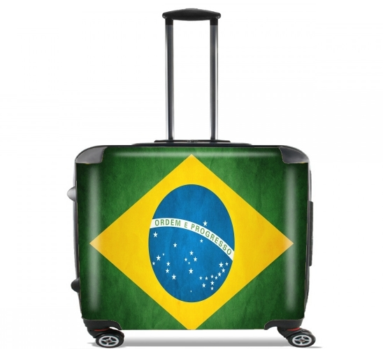 "Flag Brasil for Wheeled bag cabin luggage suitcase trolley 17"" laptop"