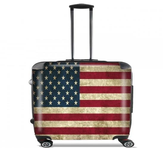"Flag USA Vintage for Wheeled bag cabin luggage suitcase trolley 17"" laptop"