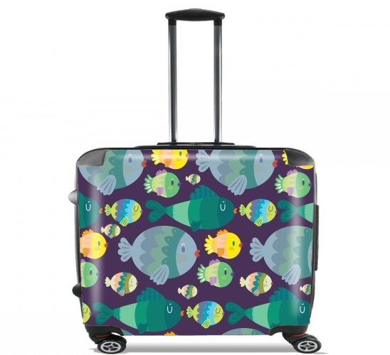 "Fish pattern for Wheeled bag cabin luggage suitcase trolley 17"" laptop"