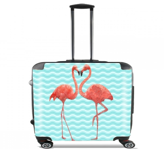 "flamingo love for Wheeled bag cabin luggage suitcase trolley 17"" laptop"