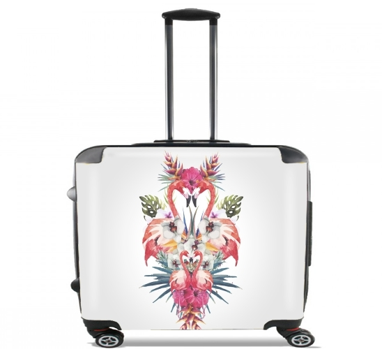 "Flamingos Tropical for Wheeled bag cabin luggage suitcase trolley 17"" laptop"