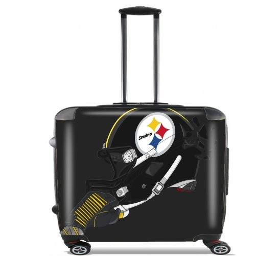 "Football Helmets Pittsburgh for Wheeled bag cabin luggage suitcase trolley 17"" laptop"
