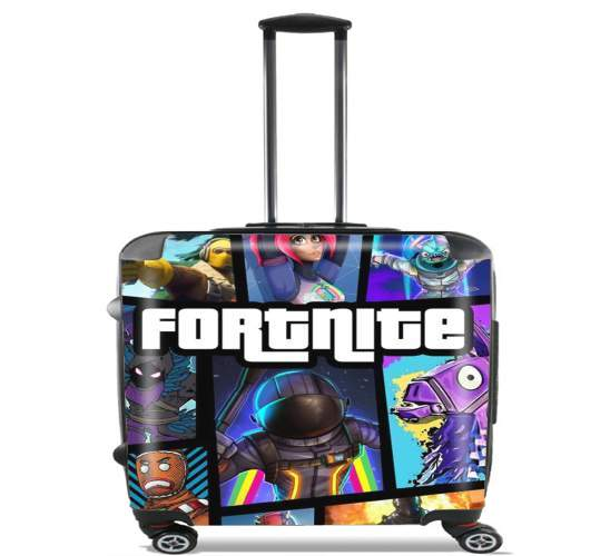 "Fortnite - Battle Royale Art Feat GTA for Wheeled bag cabin luggage suitcase trolley 17"" laptop"