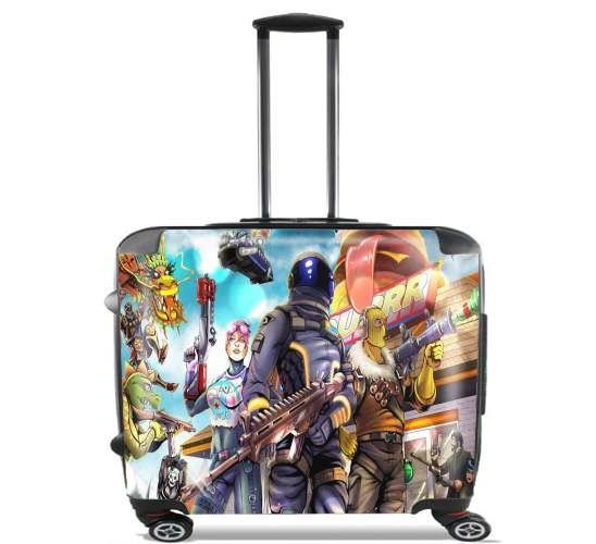 "Fortnite Characters with Guns for Wheeled bag cabin luggage suitcase trolley 17"" laptop"
