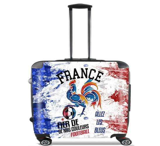 "France Football Coq Sportif Fier de nos couleurs Allez les bleus for Wheeled bag cabin luggage suitcase trolley 17"" laptop"