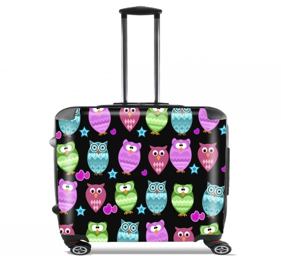 "funky owls for Wheeled bag cabin luggage suitcase trolley 17"" laptop"