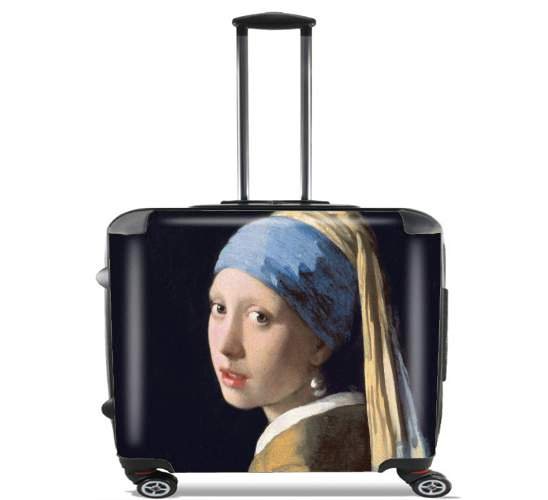 "Girl with a Pearl Earring for Wheeled bag cabin luggage suitcase trolley 17"" laptop"