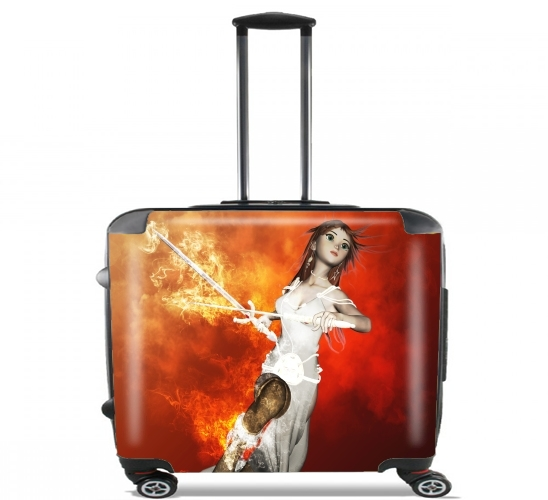 "Girl with swords for Wheeled bag cabin luggage suitcase trolley 17"" laptop"