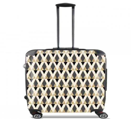 "Glitter Triangles in Gold Black And Nude for Wheeled bag cabin luggage suitcase trolley 17"" laptop"