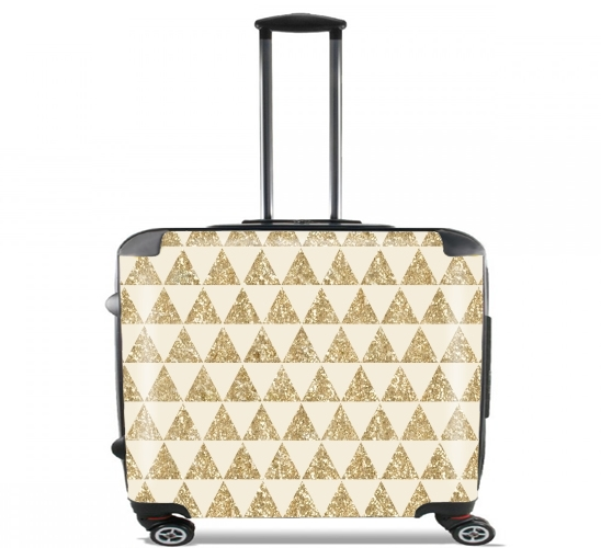 "Glitter Triangles in Gold for Wheeled bag cabin luggage suitcase trolley 17"" laptop"