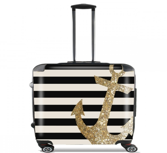 "gold glitter anchor in black for Wheeled bag cabin luggage suitcase trolley 17"" laptop"