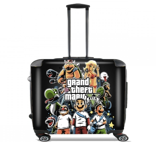 "Grand Theft Mario for Wheeled bag cabin luggage suitcase trolley 17"" laptop"