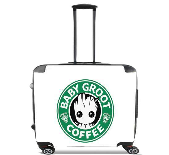 "Groot Coffee for Wheeled bag cabin luggage suitcase trolley 17"" laptop"
