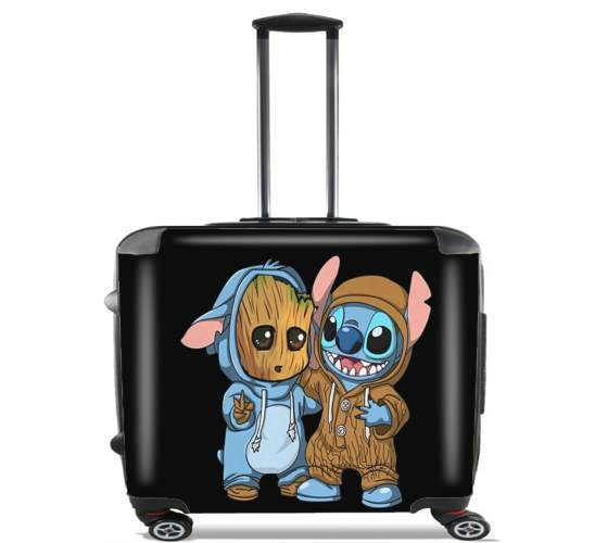 "Groot x Stitch for Wheeled bag cabin luggage suitcase trolley 17"" laptop"