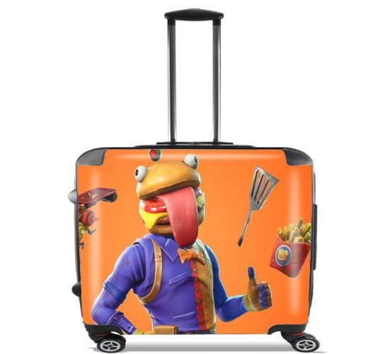 "Hamburger Fortnite skins Beef Boss for Wheeled bag cabin luggage suitcase trolley 17"" laptop"