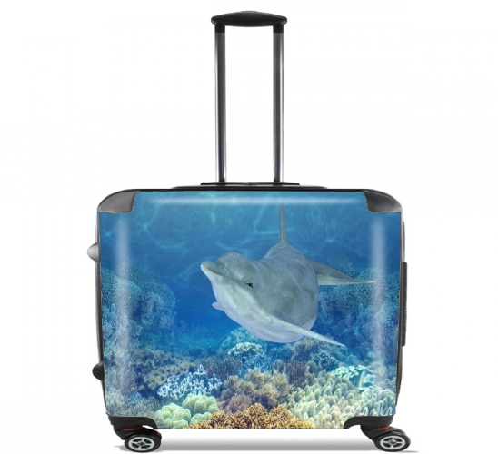 "happy dolphins for Wheeled bag cabin luggage suitcase trolley 17"" laptop"