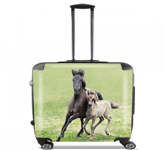 "Horses, wild Duelmener ponies, mare and foal for Wheeled bag cabin luggage suitcase trolley 17"" laptop"