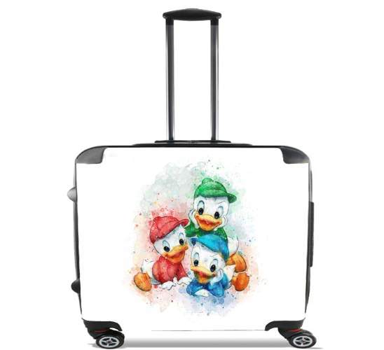 "Huey Dewey and Louie watercolor art for Wheeled bag cabin luggage suitcase trolley 17"" laptop"