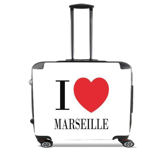 "I love Marseille for Wheeled bag cabin luggage suitcase trolley 17"" laptop"
