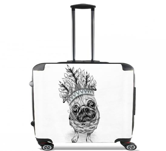 "Indian Pug for Wheeled bag cabin luggage suitcase trolley 17"" laptop"