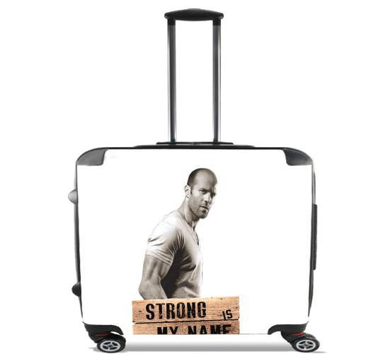 "Jason statham Strong is my name for Wheeled bag cabin luggage suitcase trolley 17"" laptop"