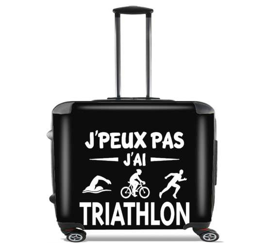 "Je peux pas j ai Triathlon for Wheeled bag cabin luggage suitcase trolley 17"" laptop"