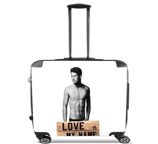 "Jeremy Irvine Love is my name for Wheeled bag cabin luggage suitcase trolley 17"" laptop"