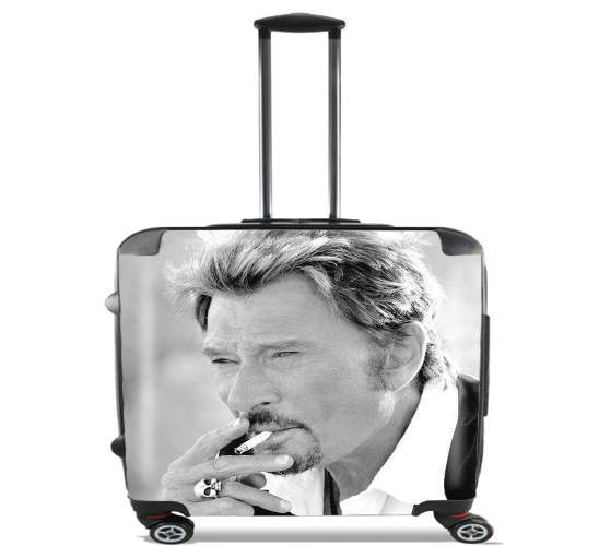 "johnny hallyday Smoke Cigare Hommage for Wheeled bag cabin luggage suitcase trolley 17"" laptop"