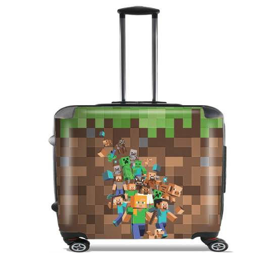 "Minecraft Creeper Forest for Wheeled bag cabin luggage suitcase trolley 17"" laptop"