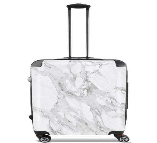 "Minimal Marble White for Wheeled bag cabin luggage suitcase trolley 17"" laptop"