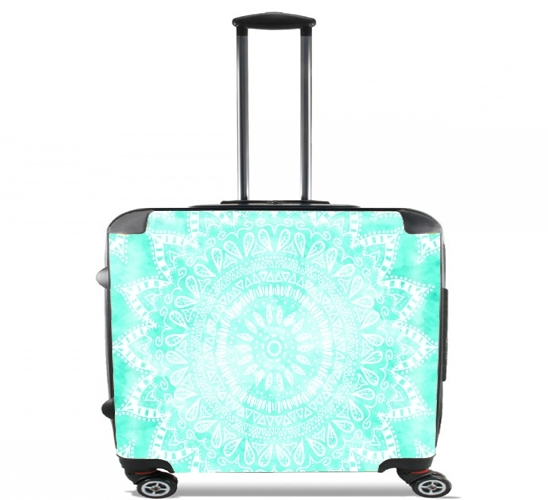 "Mint Bohemian Flower Mandala for Wheeled bag cabin luggage suitcase trolley 17"" laptop"
