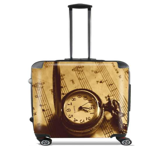 "Montre a gousset ancienne sur partition de musique for Wheeled bag cabin luggage suitcase trolley 17"" laptop"